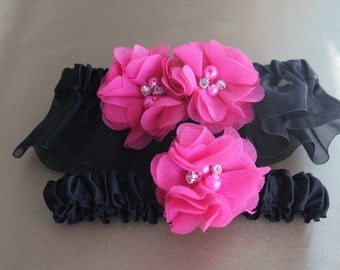 Black Garter Set- Black Organza Ruffle with Black Satin-Toss Garter Included with Hot Pink-Custom Flower Colors