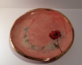 Porcelain Footed Serving Plate Bowl with Poppy