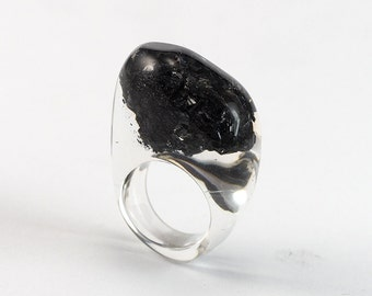 Carborundum  Resin Ring, Unique Clear Resin Ring with Natural Mineral  Fashion Ring
