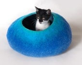 Cat Kitty Cocoon, Cave, Bed, House, Vessel, Furniture, Hideaway / Hand Felt Wool - Crisp Contemporary Modern Design / Teal Blue Bubble
