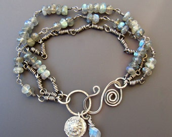 Sterling Silver and Blue Flash Faceted Labradorite Three-Strand Bracelet with Labradorite and Fine Silver Seashell Charms