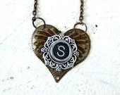 Letter S  typewriter key necklace pendant vintage writer heart setting mixed metals handmade
