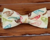 Mens Bow Tie - Birds multi on cream cotton bowtie - bow tie for teen boy, man - wedding bow tie - mens custom bow tie - red blue green tan