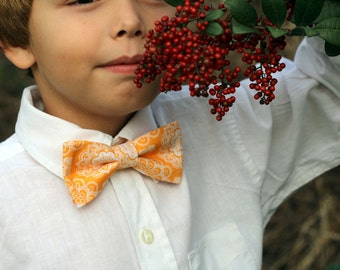 Boys Orange bow tie, boy's floral bow tie, boys wedding bow tie, baby bow tie, toddler bow tie, ring bearer tie, first birthday, pretied tie