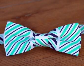 Boys Striped Bow Tie - boys blue bow tie - boys green bow tie - toddler bow tie - first birthday bow tie - smash cake bow tie - party tie