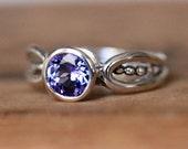Modern tanzanite ring, purple tanzanite ring, unique tanzanite ring, bezel set ring, recycled silver ring, artisan ring custom