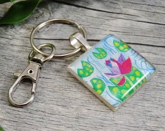 Child's Artwork Key Chain - Silver Plated Resin Square Key Chain - Personalized Gifts
