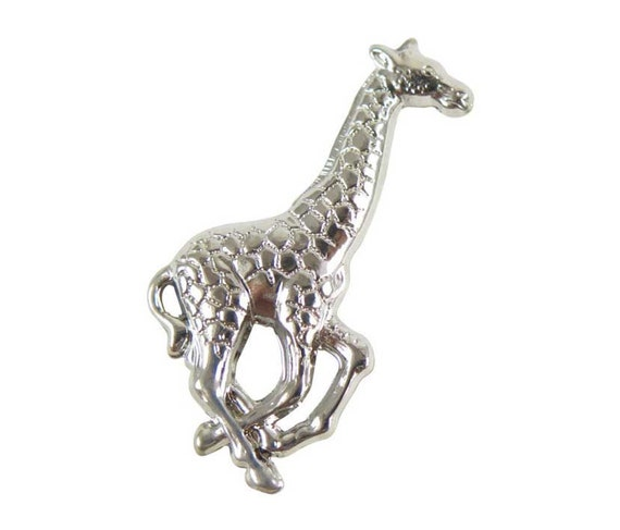 LOW Stock - Rhodium Plated Giraffe Pendants - Right Facing - no hole (6X) (V474) S A L E - 25% off