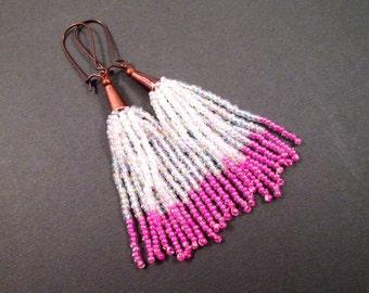 Tassel Earrings, White and Pink Glass Seed Beaded Fringe Earrings, Copper Dangle Earrings, FREE Shipping U.S.