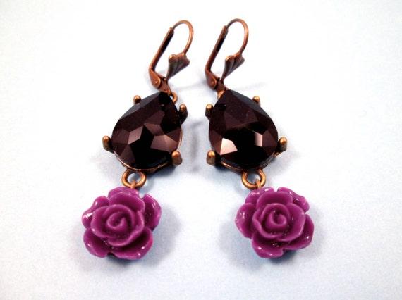 Rhinestone Earrings, Black Glass Drop Pendants and Violet Rose Earrings, Brass Dangle Earrings, FREE Shipping U.S.