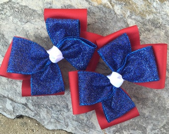 Large Red,White and Glitter Blue Hair Bows-4th of July-Ready to Ship