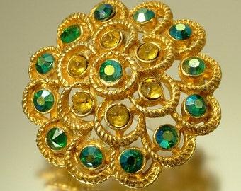 Vintage, estate 1950s/ 60s glam gold plated & aurora borealis/ rhinestone/ paste, costume brooch / pin - jewelry jewellery