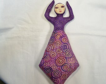 OOAK 10 in. Goddess of Inspiration cloth art doll form w/face cab You finish her Bead Decorate Fantasy