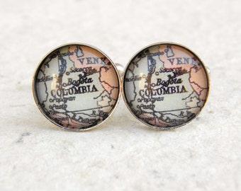 Bogota Map Cufflinks - Bogota, Colombia - Custom Map Cufflink Set - Great gift for world traveler