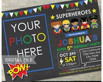 "Superheroes Birthday Invitation Party Chalkboard Boy Girl Super Hero - Photo - Digital Invite 5"" x 7"" - Printable"