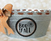 Halloween galvanized tub with burlap chevron bow - Boo Y'all spider web decal - home decor - candy tub - halloween decor - ready to ship