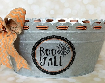 Halloween galvanized tub with burlap chevron bow - Boo Y'all spider web decal - home decor - candy tub - halloween decor