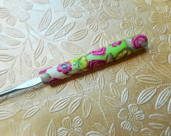 Crochet Hook, Polymer Clay, Lime and Pink,  Boye, Size F
