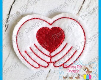 Heart In Hands Felt Feltie Embroidery Design