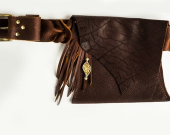 Brown Leather Belt Bag - Shi Pocket Belts - One of a Kind