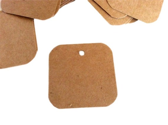 Gift tags, rounded corners, 2x2, set of 50, wedding favor, business label, kraft tag