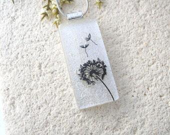 Dandelion Wish Necklace, Dichroic Glass Pendant, Fused Glass Jewelry, Dandelion Pendant, Dichroic Jewelry, White Silver Pendant,  081816p100