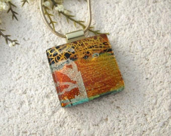 Golden Copper Red, Dichroic Glass Necklace, Dichroic Jewelry, Glass Jewelry, Fused Glass Jewelry, Gold Necklace, Glass Pendant,  102315p102