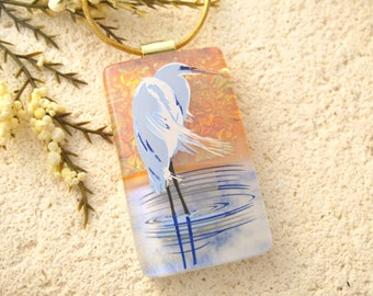 Heron Necklace, Dichroic Blue Heron,Silver Necklace,  Dichroic Jewelry, Fused Glass Jewelry, Bird Necklace,Dichroic Glass Jewelry 121615p106