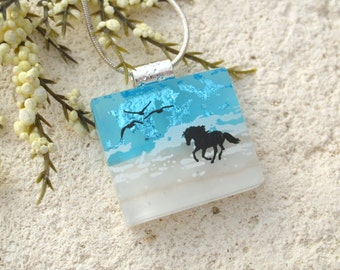 Petite Horse Necklace, Dichroic Necklace, Equestrian, Dichroic Jewelry, Fused Glass Jewelry,Dichroic Pendant, Chain Included,   010916p100