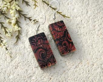 Red Plume Earrings, Dichroic Earrings, Glass Earrings, Sterling Silver, Red Jewelry, Dichroic Jewelry, Dangle Drop Earrings, 011616e106