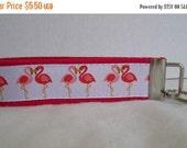 40% Off Flamingo Key Fob - Hot PINK -  Flamingos Key Chain - Tropical Wristlet Keychain