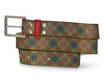 Poindexter Leather Belt, Nerd Belt, Leather Belt Geek, Pattern Leather Belt, Colorful Leather Belt
