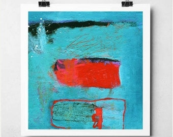 Turquoise Abstract Art with Red and Black Design