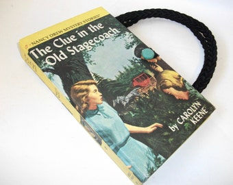 Nancy Drew Book Purse Clue in the Old Stagecoach Vintage Handbag Upcycled Book Bag