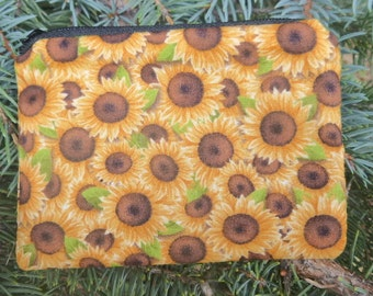 Sunflowers coin purse, gift card pouch, credit card pouch, Small Sunflowers, The Raven