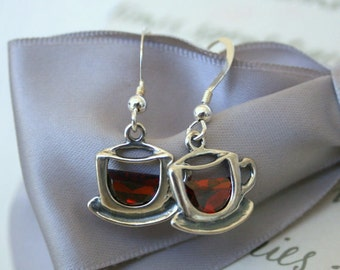 Tea or Coffee cup earrings with Dark Red CZ accents - Sterling Silver