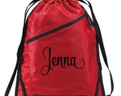 Custom Embroidered Personalized Cinch Pack Bag Tote Drawstring Backpack Great Teen Gift