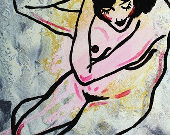 She, Who is Extraordinary 20x20 abstract figurative painting