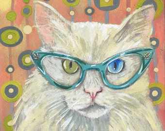 "6x6 inch Archival Print on Wood  ""Cat Eye Cat #3"""