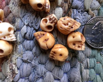 5 Handcarved Bone Skull Bead 10-12mmx13mm with a 2mm Hole