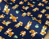 Japanese Fabric - shiba inu - navy blue - 50cm