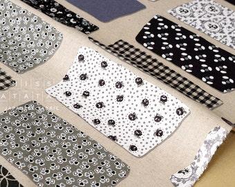 Japanese Fabric Yuwa - Masking Tape - black, grey - 50cm