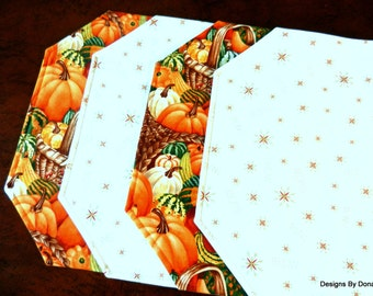 Quilted Placemats, Reversible, Cornucopia, Pumpkins, & Squash and Red/Green Dainty Snowflakes and the Words SNOW, Handmade Table Linens