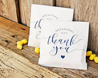 Wedding Thank You Bag - Sweet Heart Thank You Design - Custom Printed Wax Lined Paper Bags - 20 White Favor Bags included