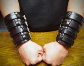 Pair of Black Leather wide Rocker Gauntlets BLS style Custom made for YOU in NYC by Freddie Matara