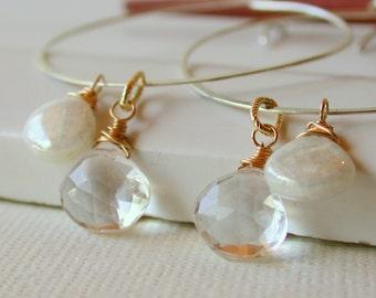 Wedding Hoop Earrings. Bridal Earrings. Silverite and Crystal Quartz. Dangle Earring. Drop Earring.