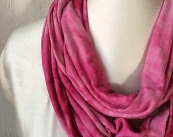 Pink Tie Dye Knit Infinity Scarf