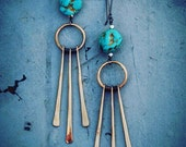 Golden Fringe with Turquoise Earrings