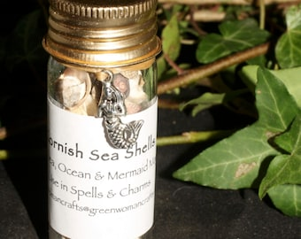 Cornish Sea Shells in a Jar with Mermaid Charm - Sea priestess, Sea magic - Wicca, Witchcrafts, Pagan