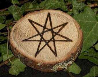 English Oak Wood Fairy Star Altar piece - Wicca, Witchcraft, Pagan, Seven-ponted star, Septagram, Elven Star